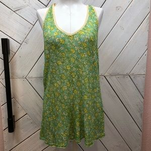 Free People Green Floral Crochet Knit Blouse